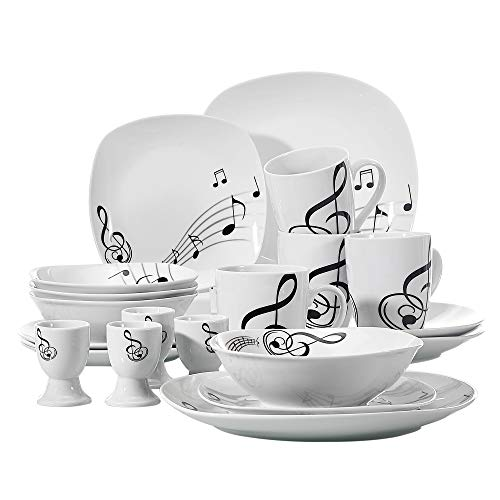 VEWEET 20-Piece Porcelain Dinnerware Set Musical Note Patterns Plate Sets with Dinner Plate, Dessert Plate, Bowl, Mug, Egg Cup, Service for 4 (Melody ()