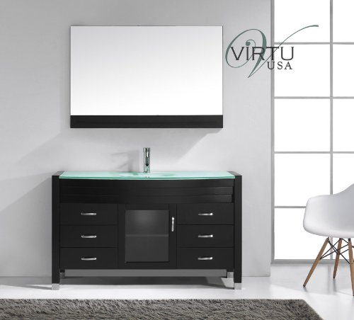 Virtu USA Ava 55 inch Single Sink Bathroom Vanity Set in Espresso w/Integrated Round Sink, Aqua Tempered Glass Countertop, Single Hole Polished Chrome, 1 Mirror - MS-5055-G-ES