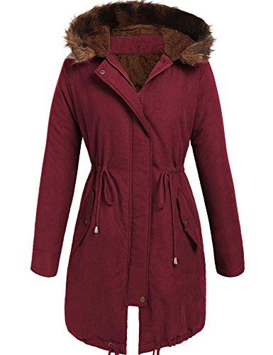 Beyove Women Winter Warm Hoodie Faux Fur Lined Down Parka Outdoor Long Jacket ()