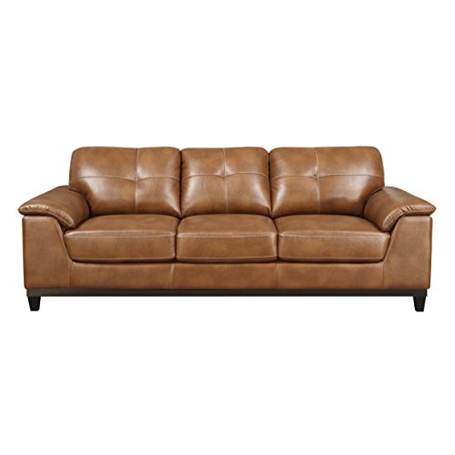 Emerald Home Marquis Chestnut Sofa with Faux Leather Upholstery, Padded Arms, And Contrast Stitching - Emerald Marquis