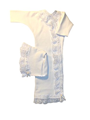 Jacqui's Baby Girls' Gorgeous Ivory Lace Gown and Bonnet Set, Preemie