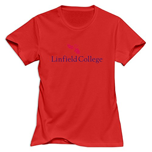 Red VAVD Lady's Linfield College O-Neck T-Shirt Size L