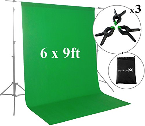 MUVR Lab Green Screen Backdrops or Backgrounds 6х9ft - 100% Cotton Muslin Chromakey Green Screen Backdrops for Photography & Videos - Includes 3 Clamps & a Carry Bag (Impact Background System Kit)