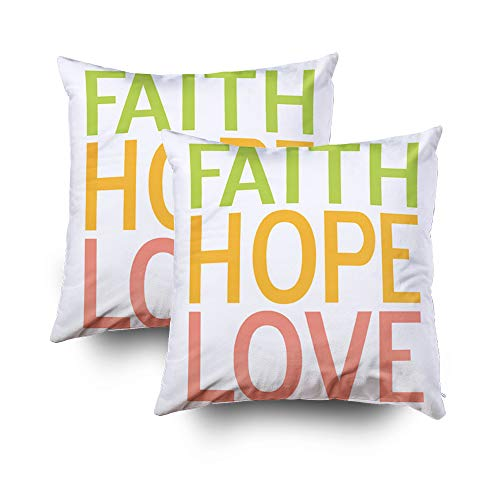 Shorping Zippered Pillow Covers Pillowcases 18X18Inch 2 Pack Faith Hope Love Inspirational Christian Decorative Throw Pillow Cover Pillow Cases Cushion Cover for Home Sofa Bedding