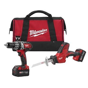 Milwaukee 2695-22 M18 18-Volt Reciprocating Saw/Hammer Drill Combo Kit (2-Tool)