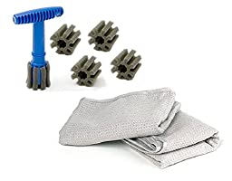 Form fitting Lug Nut Wheel Cleaning Brush with handle and removable insert (Brush + 4 Heads + 2 Pocket Waffle Towels)