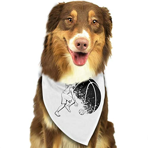 Pet Scarf Dog Bandana Bibs Triangle Head Scarfs Girl-basketball-grunge-ball-black-white-vector-illustration-female-player-dribbling-front-background-31469220 Accessories for Cats Baby Puppy]()