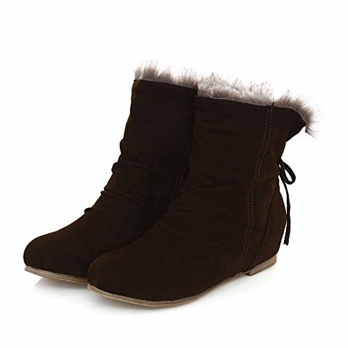 Bows Brown Western Snow Shoes Hidden Concise Carol Boots Heel Women's SY7x4zZq
