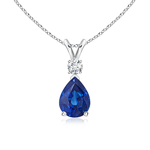 Angara Pear Shaped Sapphire Solitaire Pendant in Platinum DImpOrj
