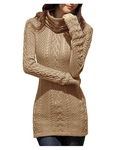 v28 Women Polo Neck Knit Stretchable Elasticity Long Slim Sweater 1216,Khaki