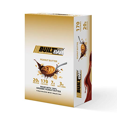 Built Bar 18 Pack Energy and Protein Bars – 100% Real Chocolate – High in Whey Protein and Fiber – Gluten Free, Natural Flavoring, No Preservatives (Peanut Butter)