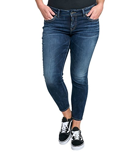 Silver Jeans Women's Plus Size Suki Mid-Rise Ankle Skinny Jeans, Dark Wash, 14X27