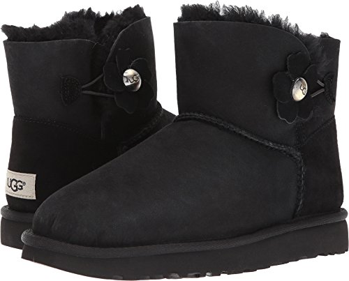 UGG Women's Mini Bailey Button Poppy Boot, Black, 9 M US