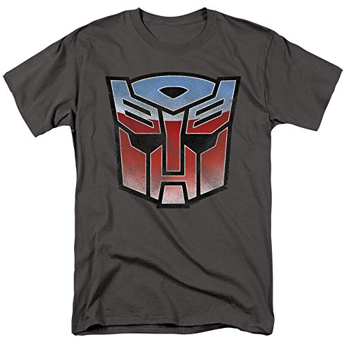 Transformers Vintage Autobot Logo Unisex Adult T Shirt for Men and Women, Medium Charcoal