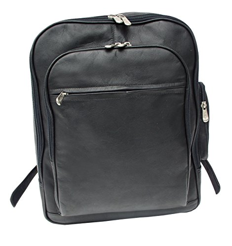 Piel Leather Entrepeneur Front-Pocket Computer Backpack in Black