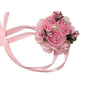 Bridesmaid Sisters Wrist Corsage Rose Flower Ribbon Rhinestone Wedding Supplies - Pink Ameesi 18
