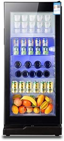 WANGLX ワインセラー - 飲料冷蔵庫やクーラー195L LED青色光 - ビール冷蔵庫付きのガラスドアとロック、缶クーラービール、ワイン、ソーダ、男性用ルームアクセサリー