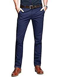 Mens Casual Slim-Tapered Flat-Front Pants
