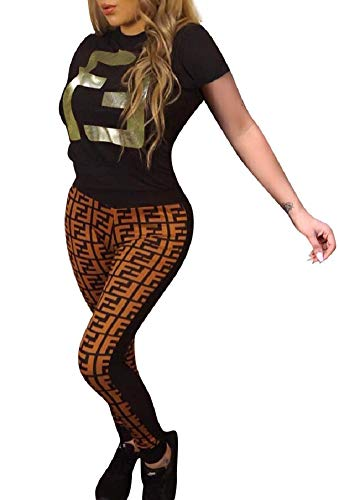 (Verchirs Womens 2 Piece Outfits Letter Print Long Sleeve Pullover Crop Top and Jogging Leggings Set Jumpsuit Romper)