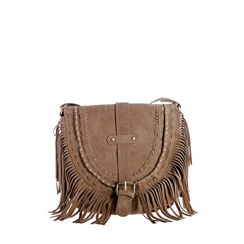 Viviesta Women's Faux Suede Folk Fringe Bohemian Brogue Tassel Cross Body Saddle Bag Handbag