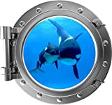 "24"" Porthole 3D Window Wall Decal Killer Whale & Cub SILVER Port Scape Orca Baby Whale Ocean Sea Animal Wall Art Peel and Stick Kids Room Decor"