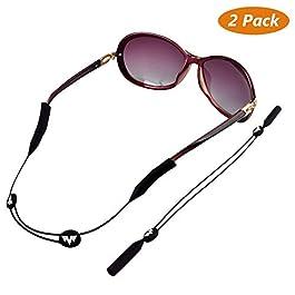 Buluri Sunglass Holder Strap, Sports Eyewear Retainer Adjustable 2 Pack Black Unisex Anti-slip Eyeglass Cord Holder- Glasses Strap – Anti-Skid Glasses Chain – Eyewear Retention System