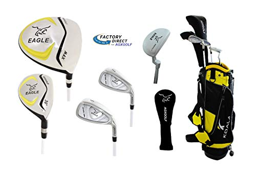 (Junior Eagle Graphite Golf Clubs Set for Boys & Girls 4-6yrs: w/Stand Bag, Putter and Two Head Covers)