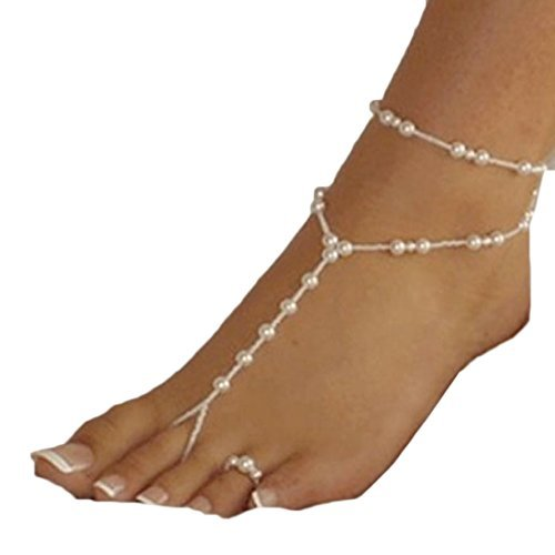 Doinshop Cute Nice Funny Womens Beach Imitation Pearl Barefoot Sandal Foot Jewelry Anklet Chain