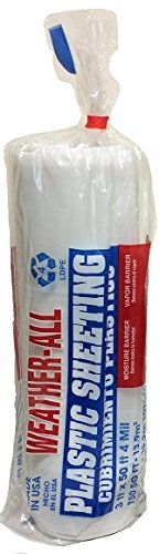 TRM Manufacturing 40350C Weatherall Visqueen Plastic Sheeting, Drop Cloth 3' Wide x 50' Length x 4.0 mil Thickness, Clear