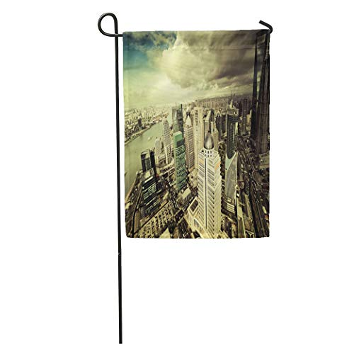 (Semtomn Garden Flag View from The Oriental Pearl Tv Tower Shanghai Lujiazui Financial Home Yard House Decor Barnner Outdoor Stand 28x40 Inches Flag)