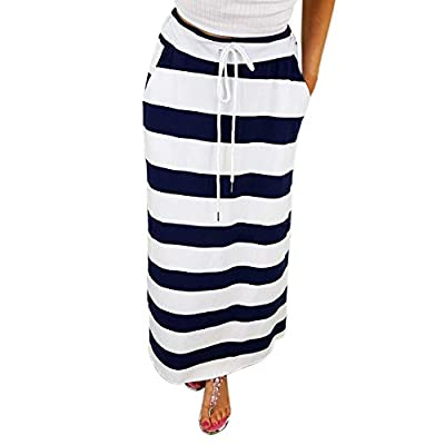 Womens Fashion Stripe Hight Waist Maxi Long Skirt