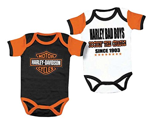 Harley-Davidson Baby Boys' Cradle Creeper Set, 2 Pk, White/Black 3050551 (18M)