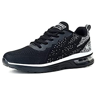 Womens Slip-on Mesh Sneakers Lightweight Breathable Athletic Running Walking Gym Shoes Black, 8