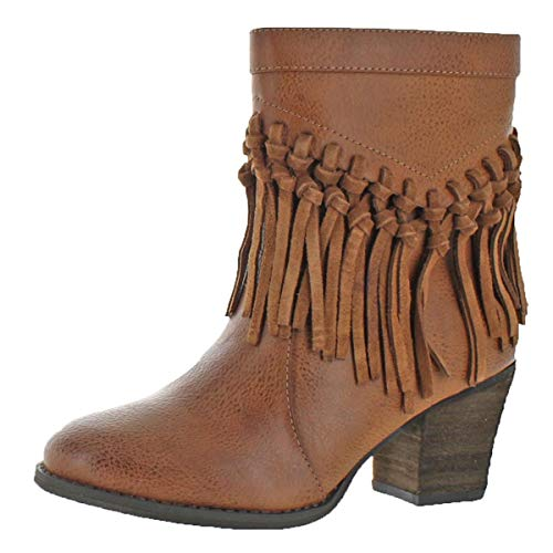 - Sbicca Kathrin Women's Vegan Leather Knotted Fringe Bootie Boot Tan Size 8.5