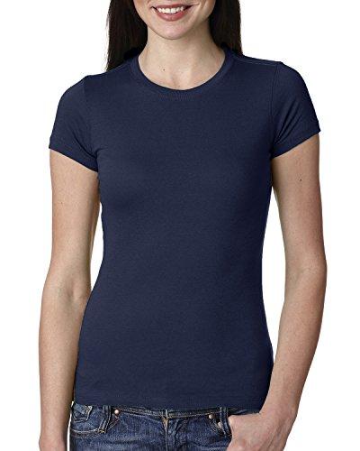 Next Level Apparel Women's Crewneck Cap Sleeve T-Shirt, Midnight Navy, Small