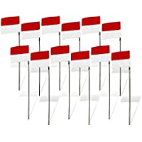 Premier RC 8 in. FPV Racing Air Flag Markers with 42 in. Poles (Set of 12) - White/Red