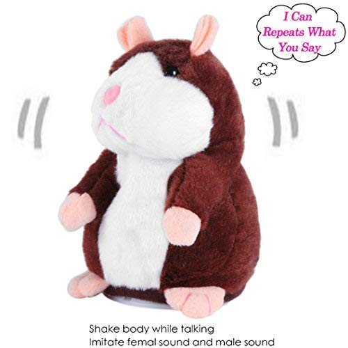 - Talking Hamster Electronic Pet Mouse Best Repeat What You Say Games for Kids,Plush Interactive Toys Stuffed Animal Recordable Language Toys Speak Out Doll for Toddlers,Battery Not Included(Dark Brown)