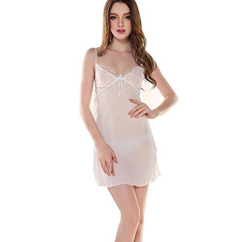 SY03 Trasparente Sexy in Vestito Intima Notte Biancheria Insieme Donne Parti Camicia bianco 2 un Pizzo da Notte Raso Glield fxFwqF