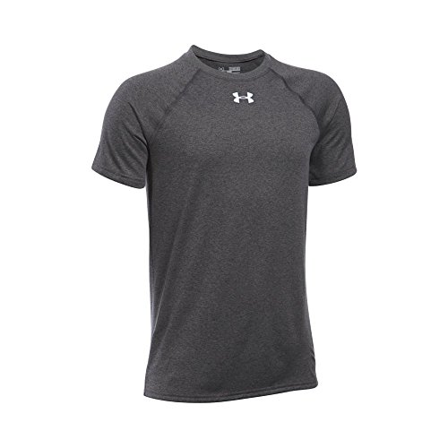 Under Armour Boys' Locker Short Sleeve T-Shirt, Carbon Heather (090)/White, Youth Large