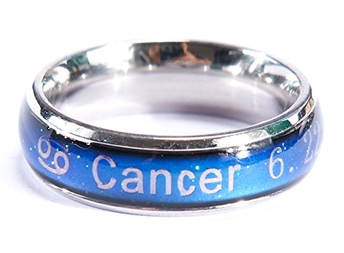 Acchen Cancer Mood Ring Titanium Steel Color Change Stress Reliever Feeling Emotion Mood Necklace Pendant with -