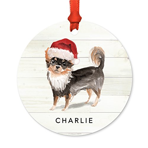 - Andaz Press Personalized Animal Pet Dog Metal Christmas Ornament, Long Haired Chihuahua with Santa Hat, 1-Pack, Includes Ribbon and Gift Bag, Custom Name