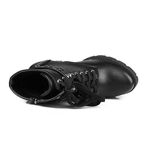 Top AgooLar Metal Closed Solid Round with Black High Low Pu Toe Boots Nail Heels Women's wx87x