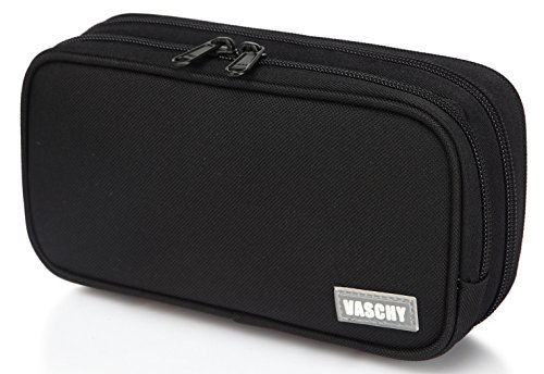 Pencil Case,Vaschy Large Capacity Pen Holder Pouch with Double Zippers Multi Compartments Easy Organized Mesh Pockets Black