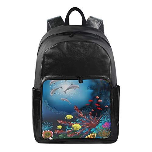 WXLIFE Tropical Fish Sea Animal Dolphin Backpack Waterproof Computer Bag Laptop Travel Sports Shoulder Bag Hiking Camping Daypack School Bag