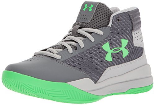 Under Armour Boys' Grade School Jet 2017 Basketball Shoe, Graphite (100)/Aluminum, 6
