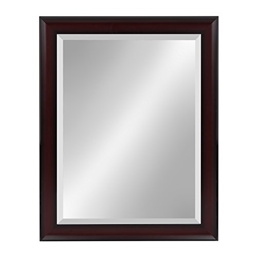 - Kate and Laurel Scoop Framed Beveled Wall Mirror, 22x28, Cherry