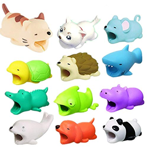 Dolloress ⭐12PCS(Dog + Crocodile + Shark + Turtle + Cat + Hippo + Panda + Rat + Chameleon + Compatible For Iphone Cable Animal Bit Cord Data Line Animal Phone Accessory Protects Cute Cell Phone