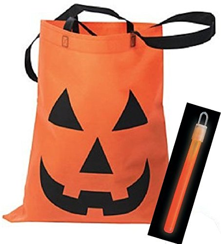Large Fabric Safety Glow Light Jack-O'-Lantern Halloween Tote Trick or Treat Bags (Halloween Goodie Bags 2017)