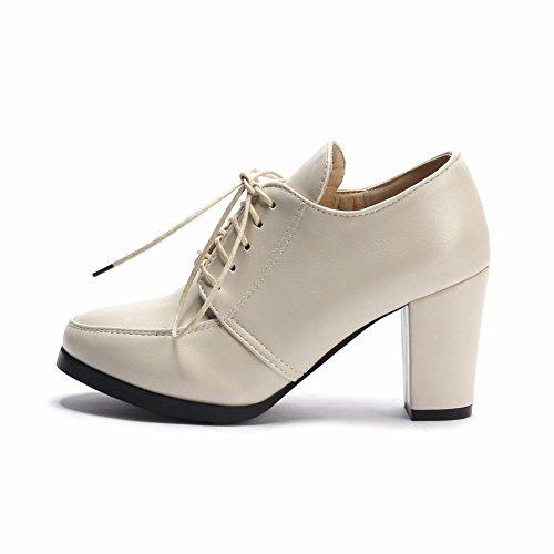 Oxford Shoes High Heels Block Latasa up Lace Beige Womens qwUYva