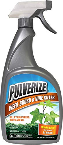 Pulverize PWBV-U-032, Brush & Vine Spray-Fast Acting Non-Staining Weed and Crabgrass Killer, 32 Ounce Trigger Bottle, Brown/A